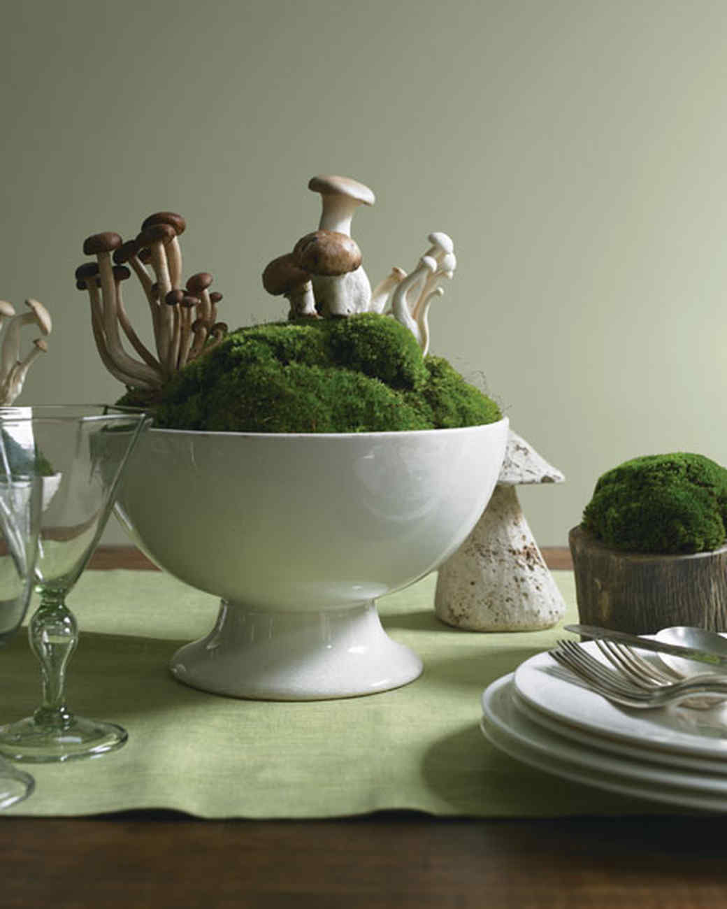 Mushroom and Moss Centerpiece