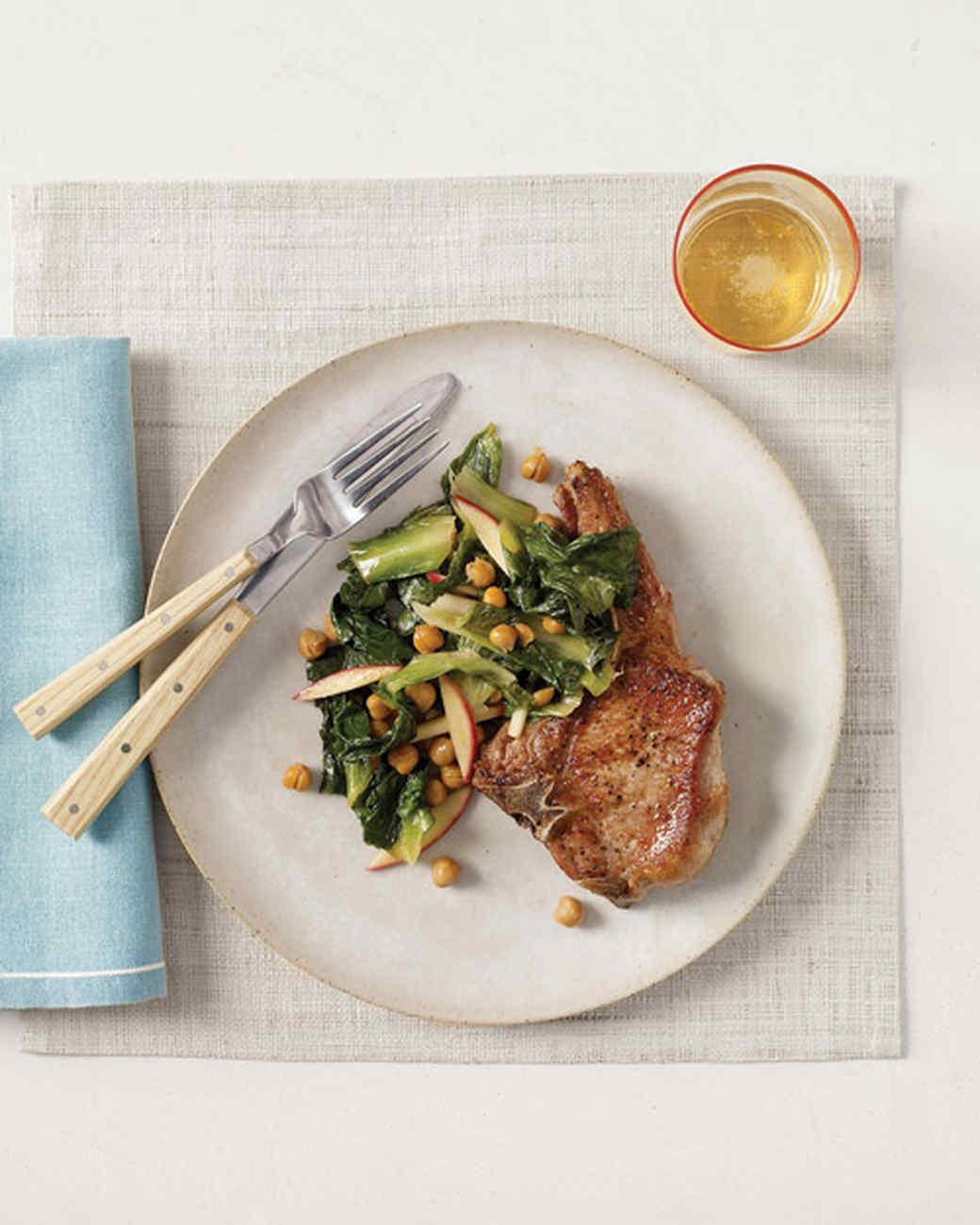 Pork Chops with Sauteed Chickpeas, Escarole, and Apple
