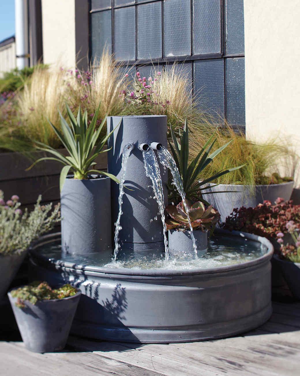 interesting feature water garden waterfall | Garden Waterfall Fountain | Martha Stewart