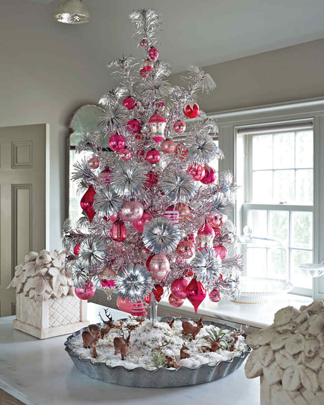 28 creative christmas tree decorating ideas martha stewart - Silver Tinsel Christmas Tree