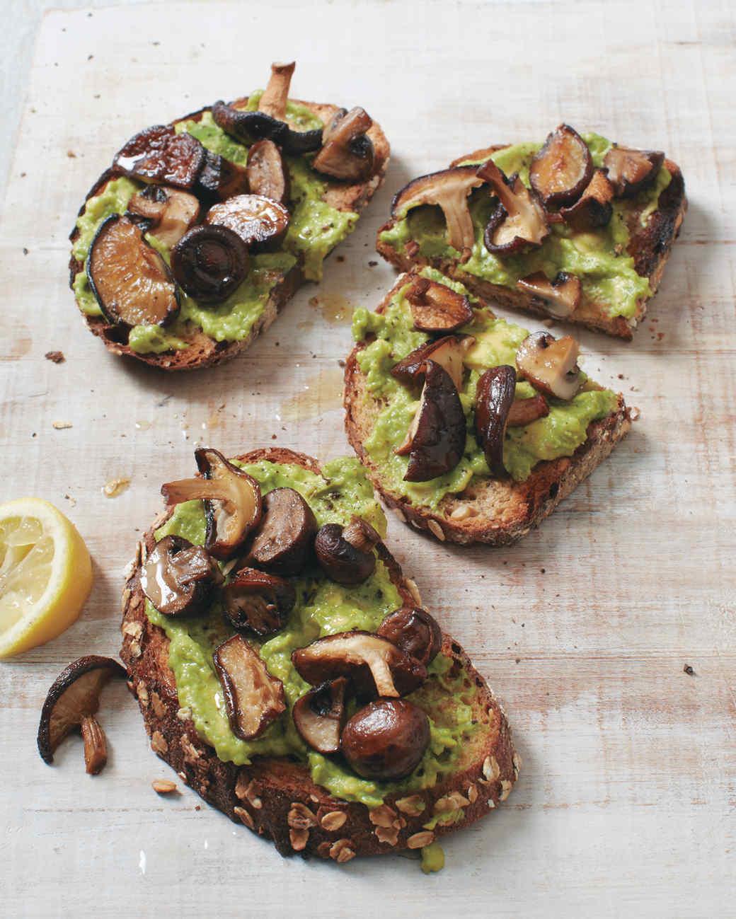 Roasted Mushroom Tartines with Avocado