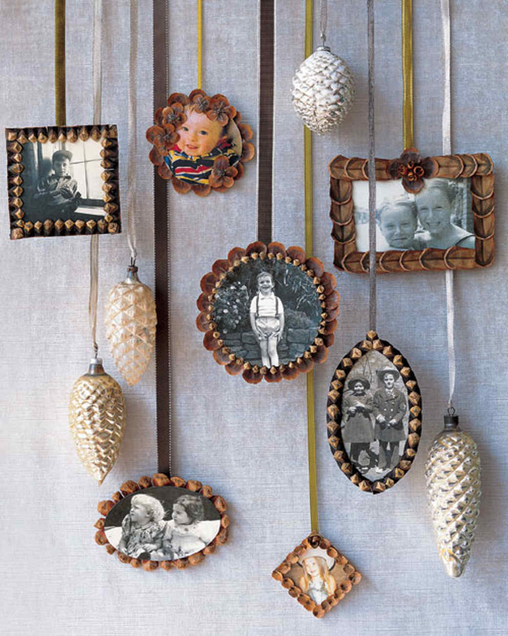 Pinecone picture frame ornaments martha stewart for Pine cone christmas ornaments crafts