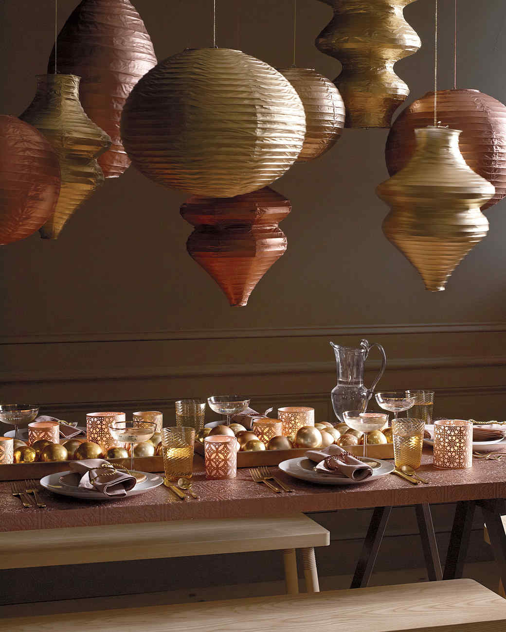 Glinting Paper Lanterns and Table Settings