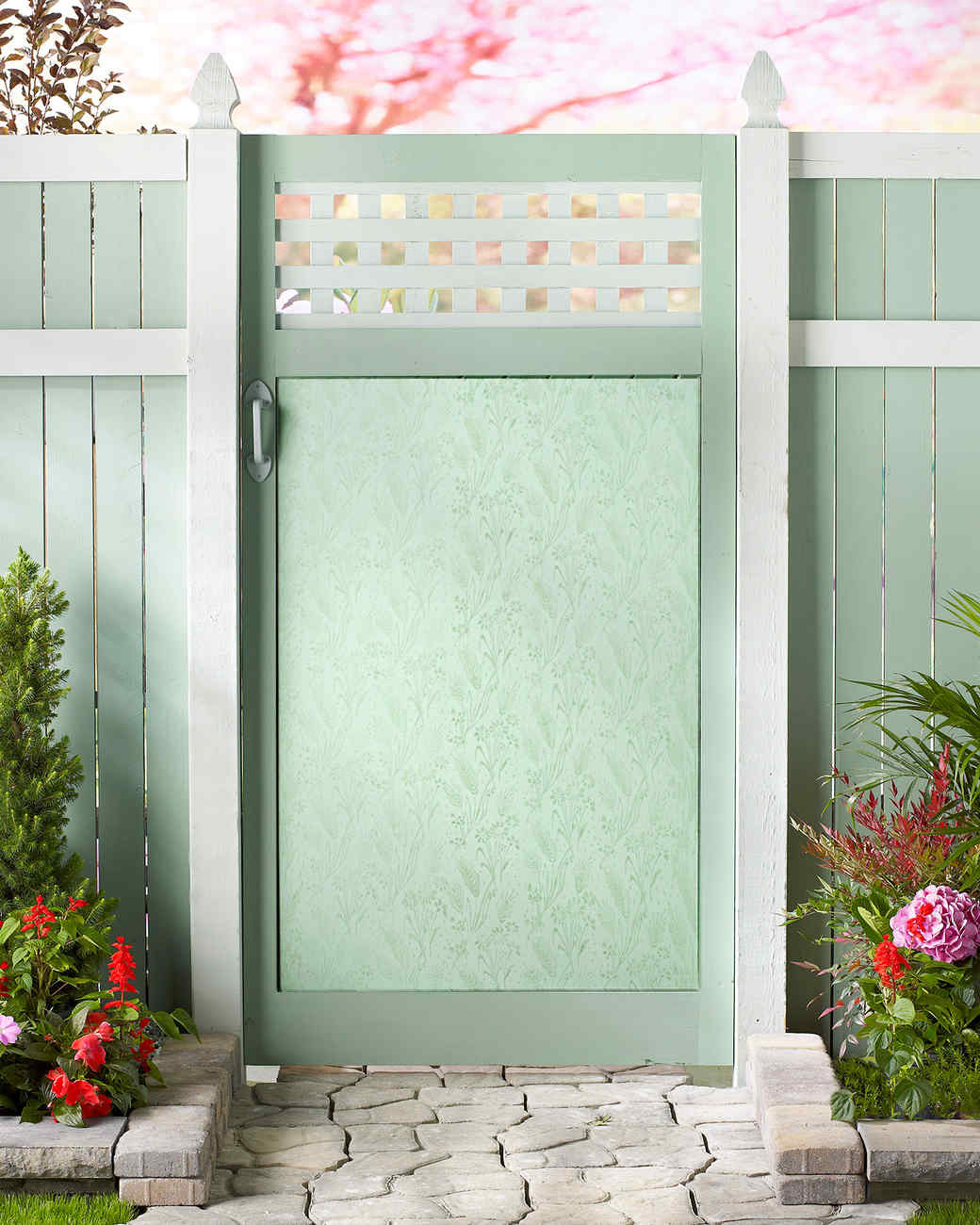 floral stenciled garden gate martha stewart. Black Bedroom Furniture Sets. Home Design Ideas