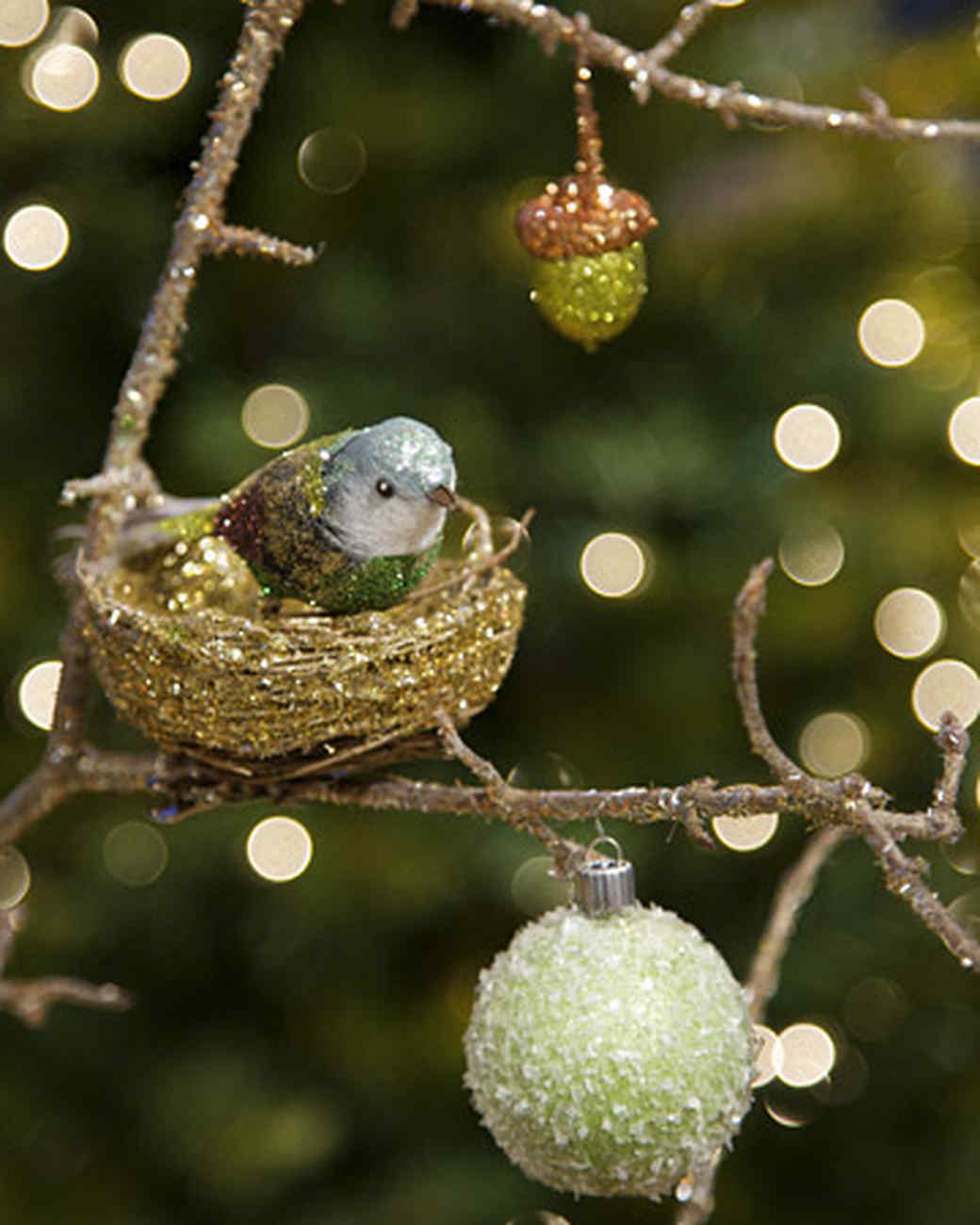 Glittered Bird, Nest, And Branch