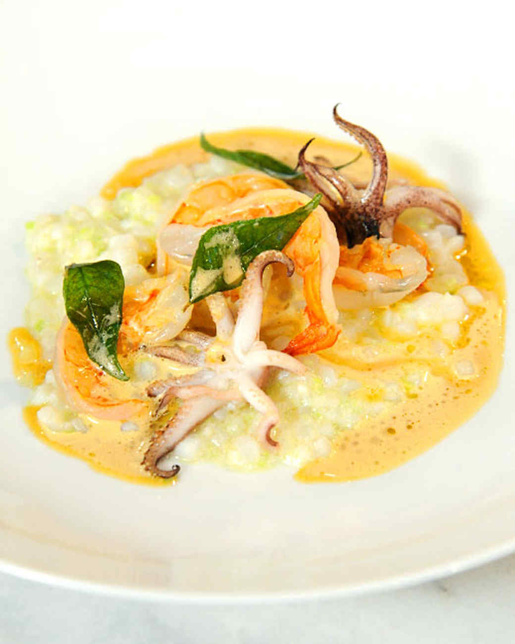 ''Risotto'' with Squid, Shrimp, and Curry Leaves