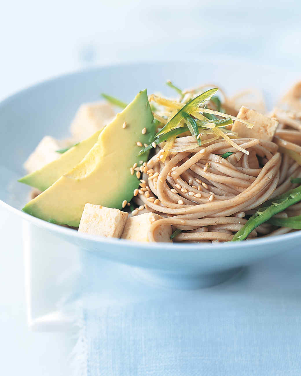Soba Noodles with Tofu, Avocado, and Snow Peas