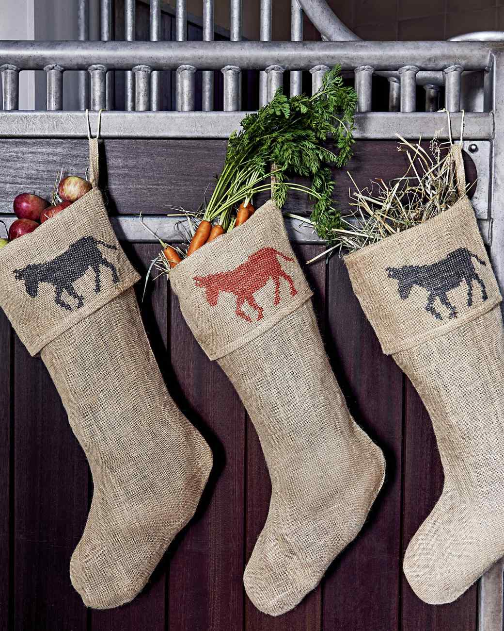 jute stockings filled with hay vegetables fruit - Burlap Christmas