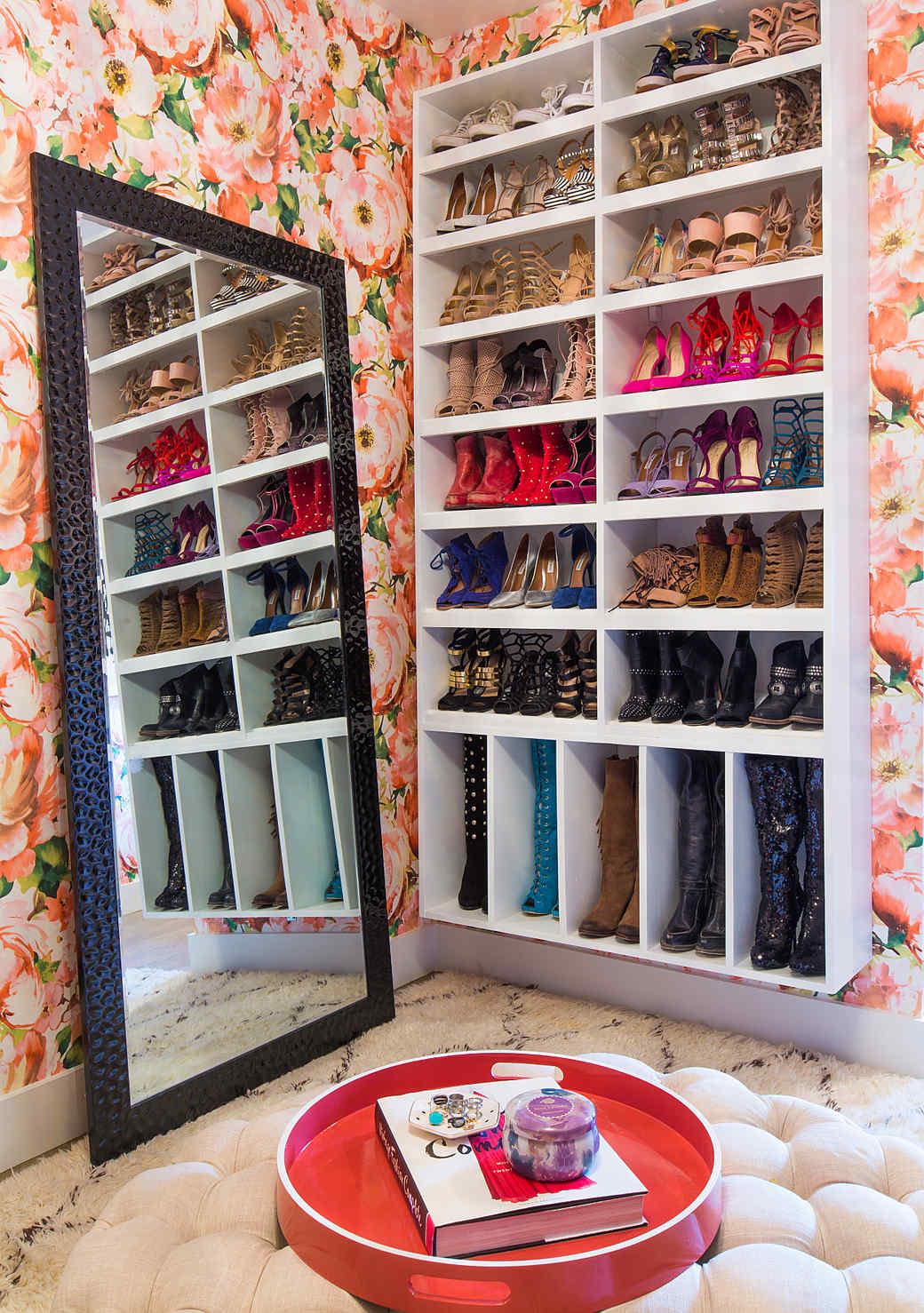 floral closet shoe storage