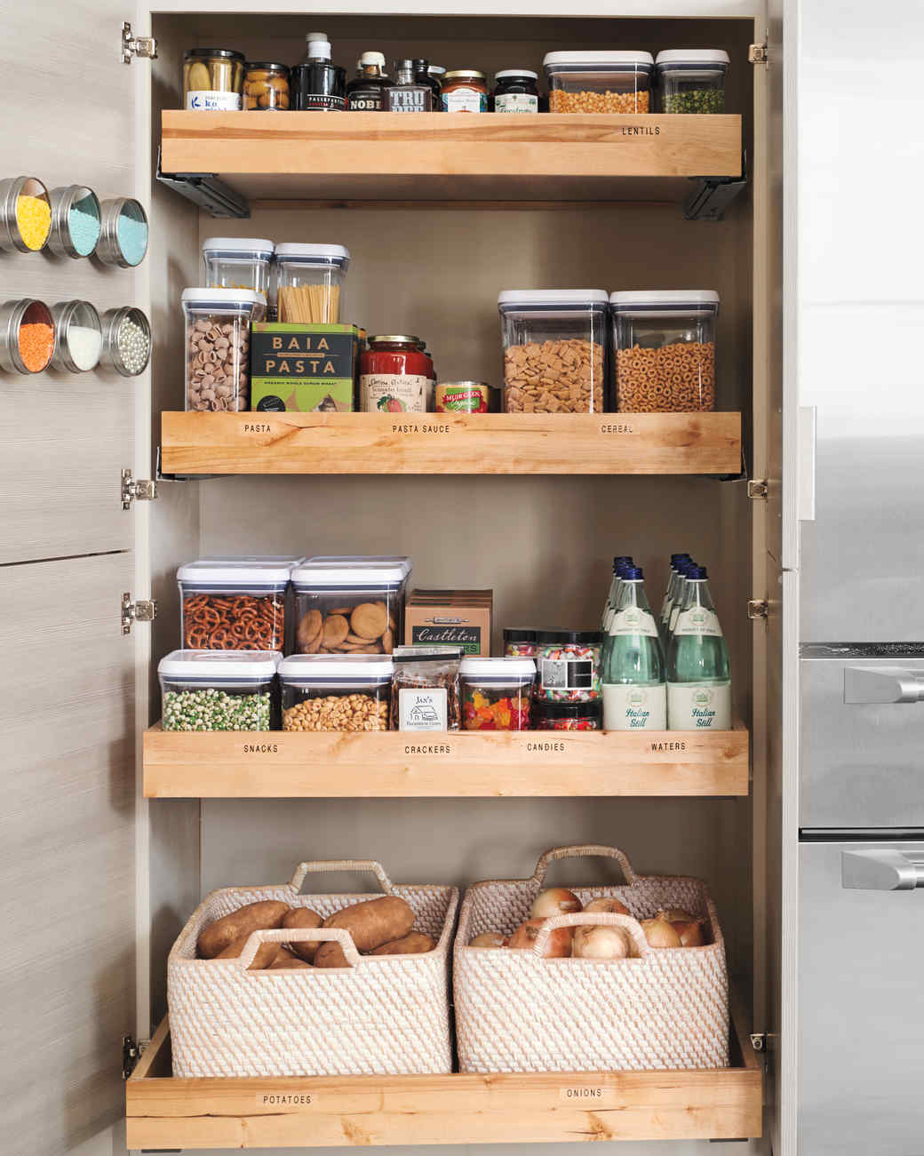 Baskets and Bins Organize Your Kitchen Cabinets