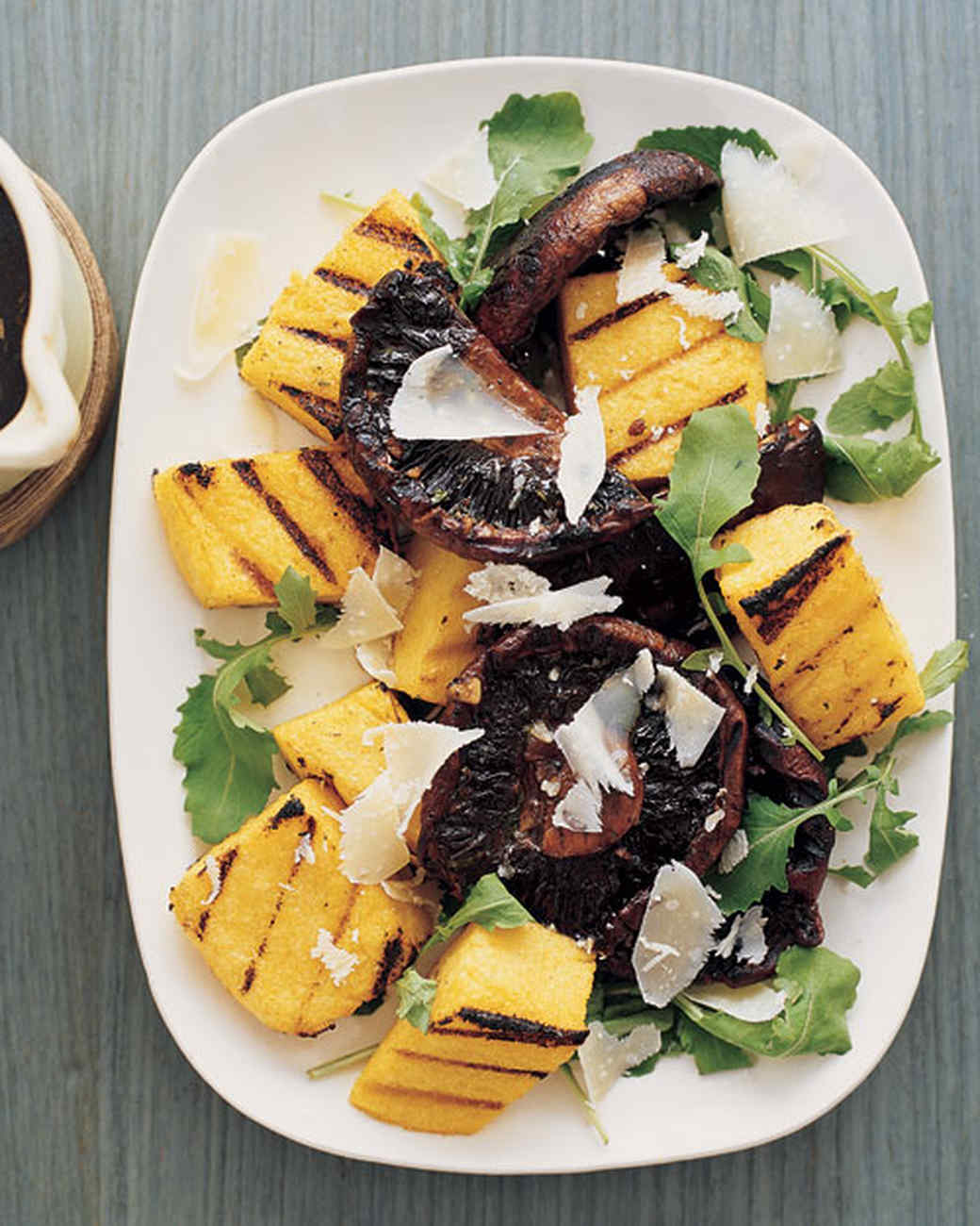 Grilled Polenta and Balsamic Mushrooms