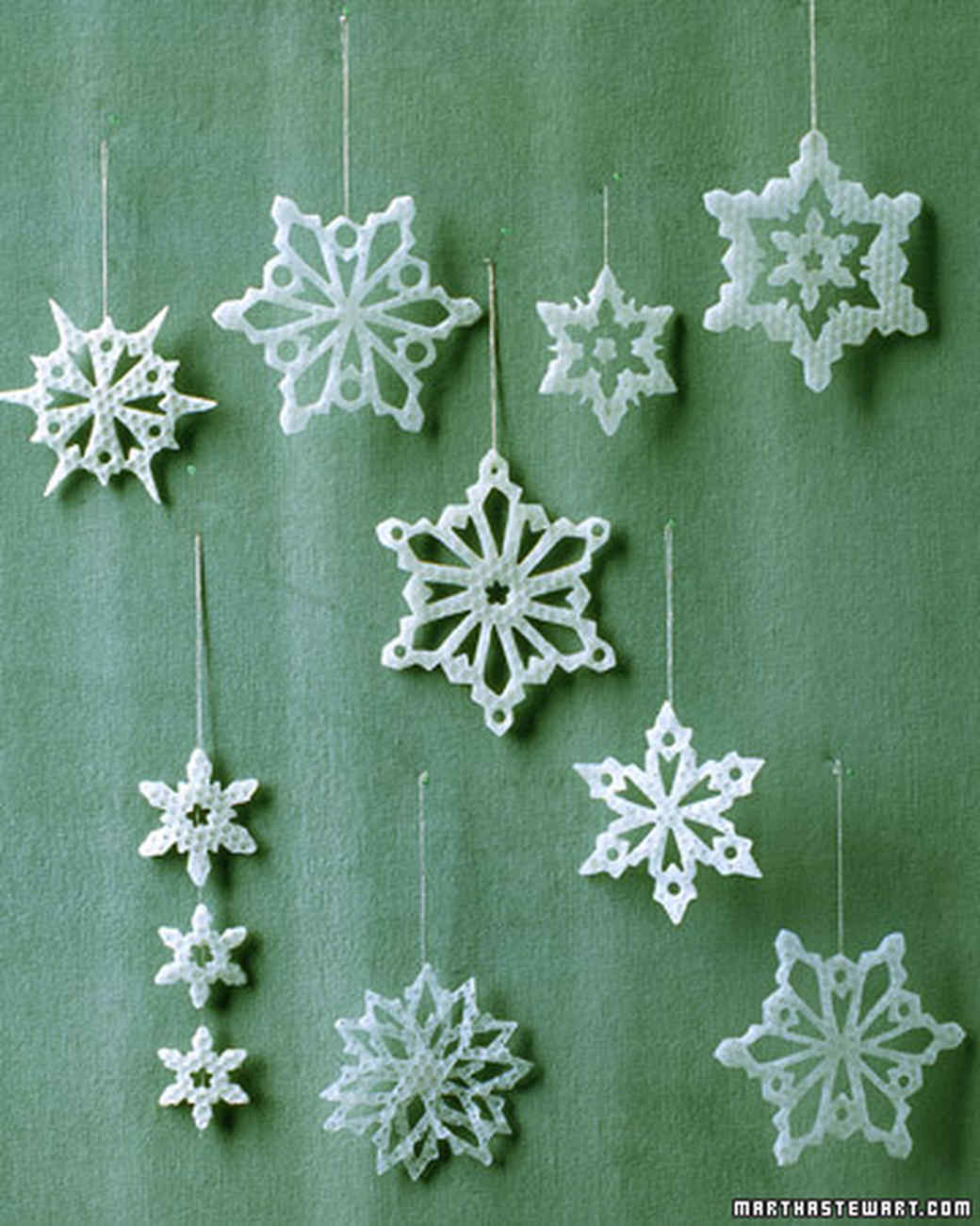17 snowflake ornaments thatll guarantee a white christmas martha stewart - Snowflake Christmas Decorations