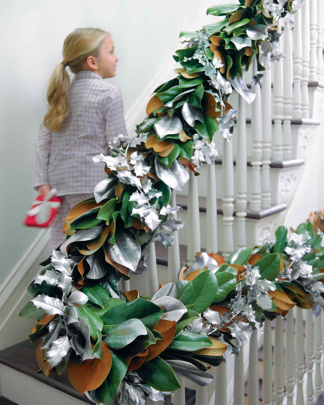 Brown, Green, and Silver Magnolia Garland