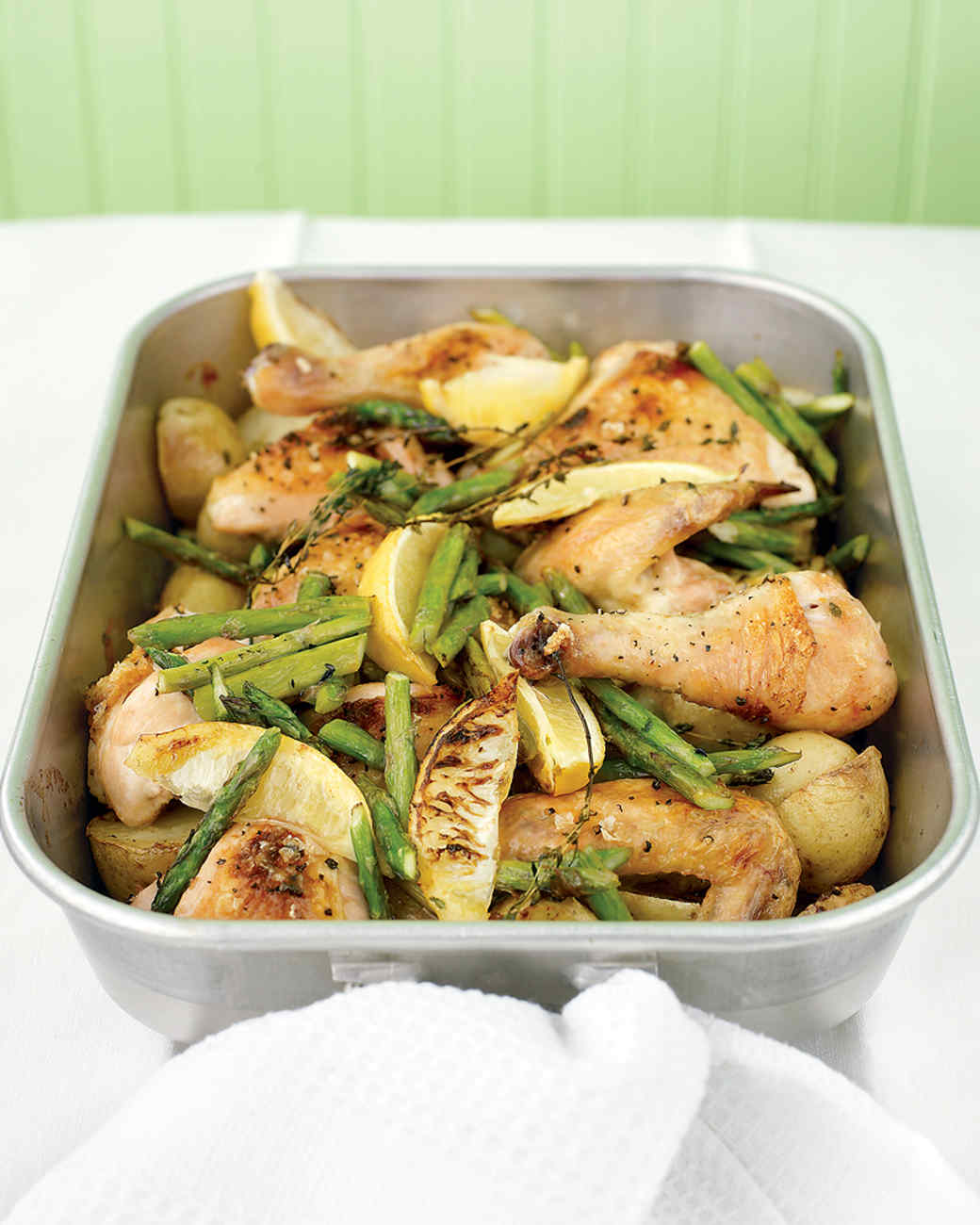 Roast Chicken with Potatoes, Lemon, and Asparagus Recipe & Video ...