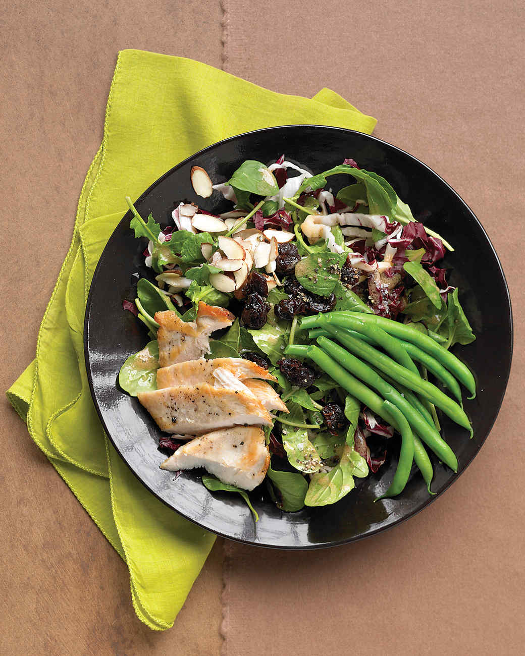 seared chicken salad with green beans almonds and dried cherries