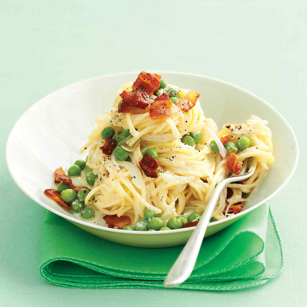 Fresh Angel Hair Pasta With Bacon And Peas