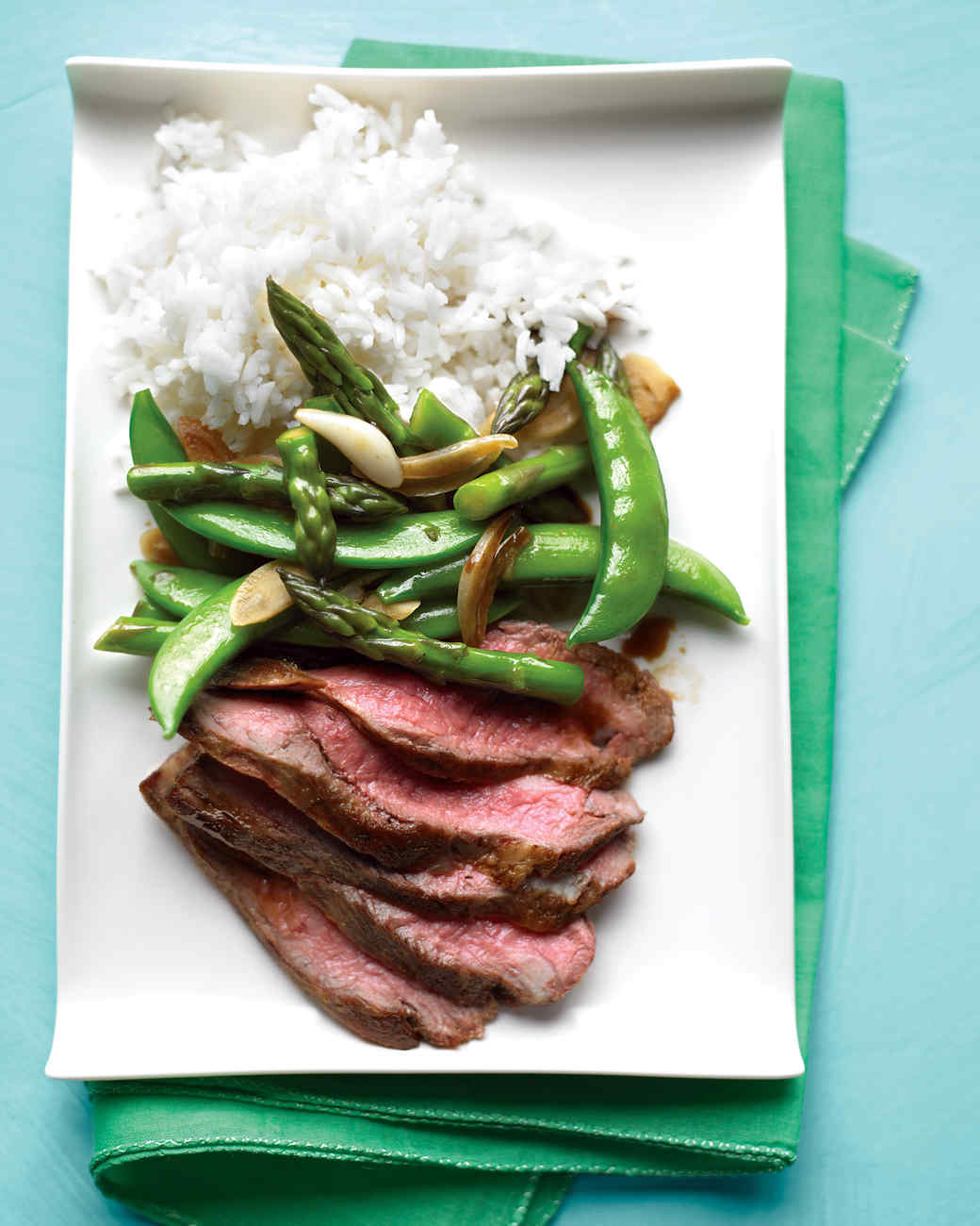 Flank Steak with Snap-Pea and Asparagus Stir-Fry