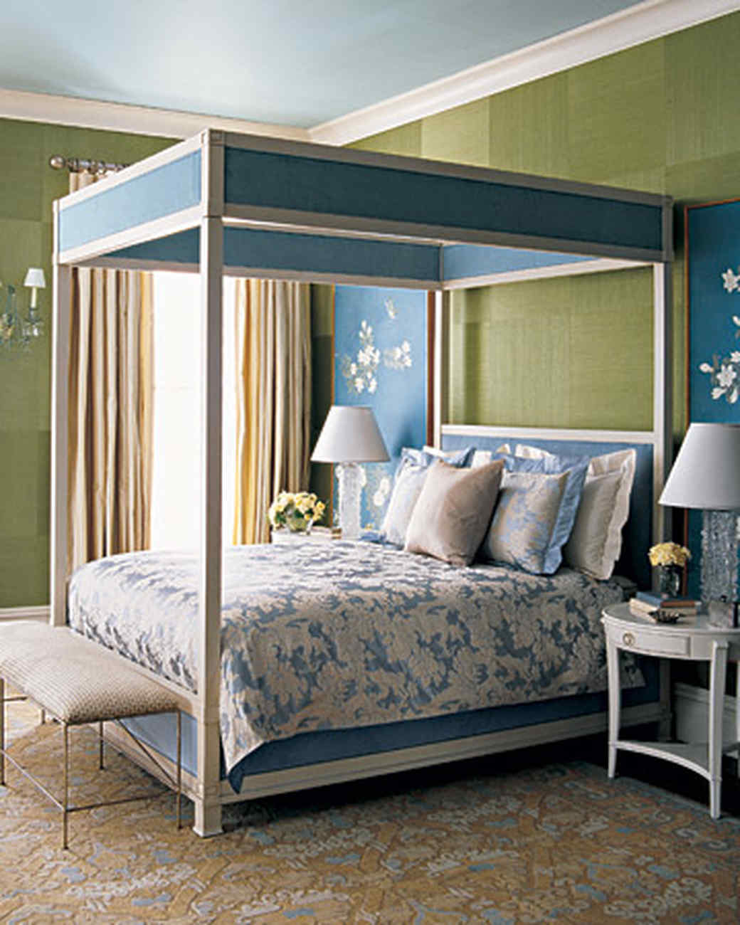 Green Color Bedroom Ideas Part - 42: Sage-and-Blue Bedroom