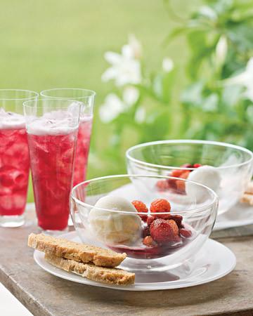 Sweetened Berries with Elderflower Sherbet