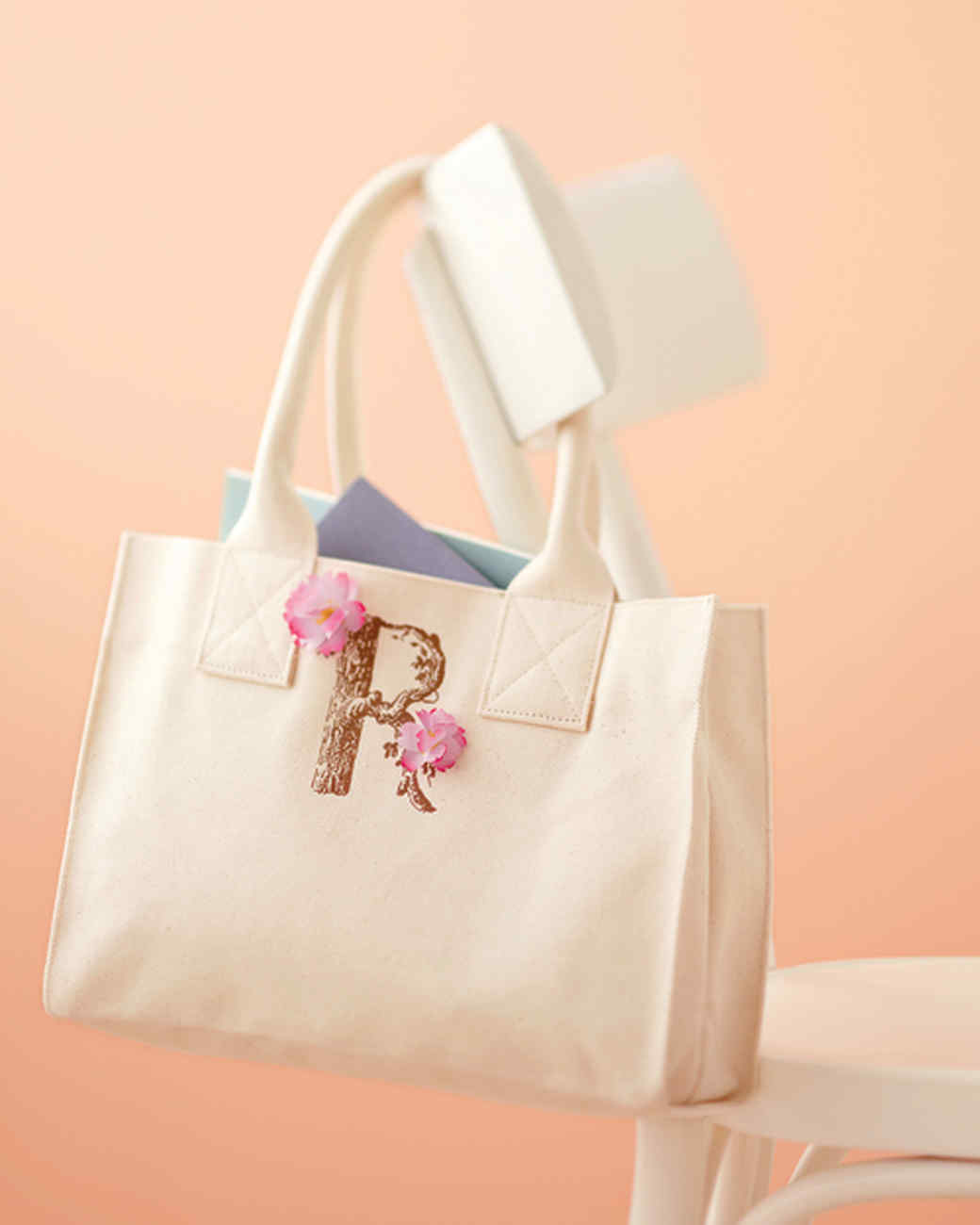 iron on monogram tote with petals taking the time to personalize a present