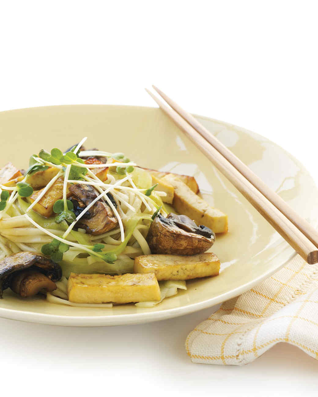 Honeyed Tofu on Udon with Cucumber Ribbons