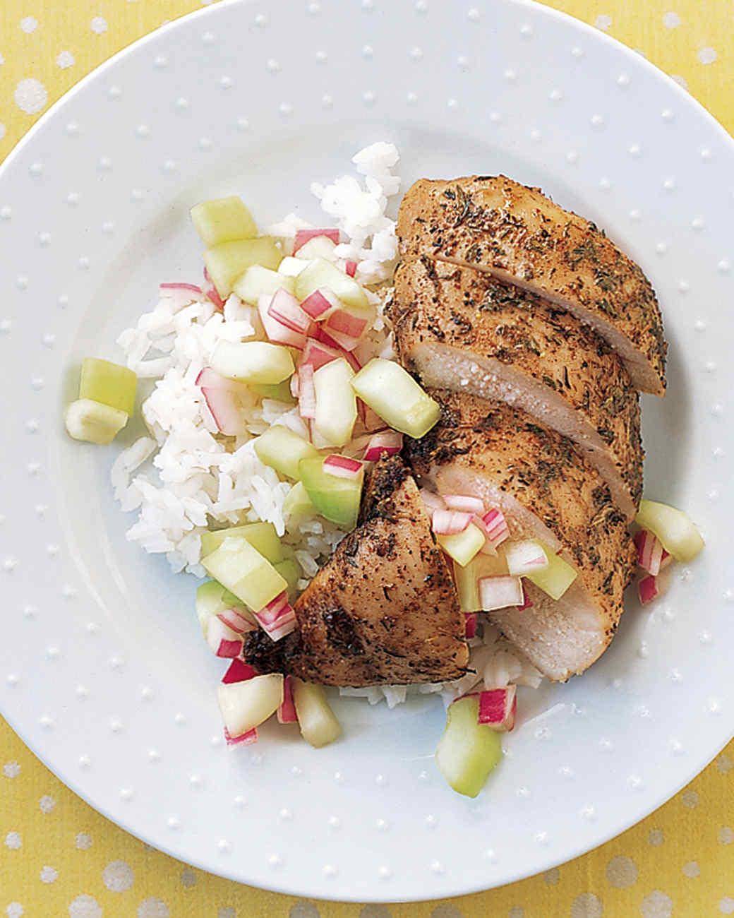 Jerk Chicken with Cucumber Relish