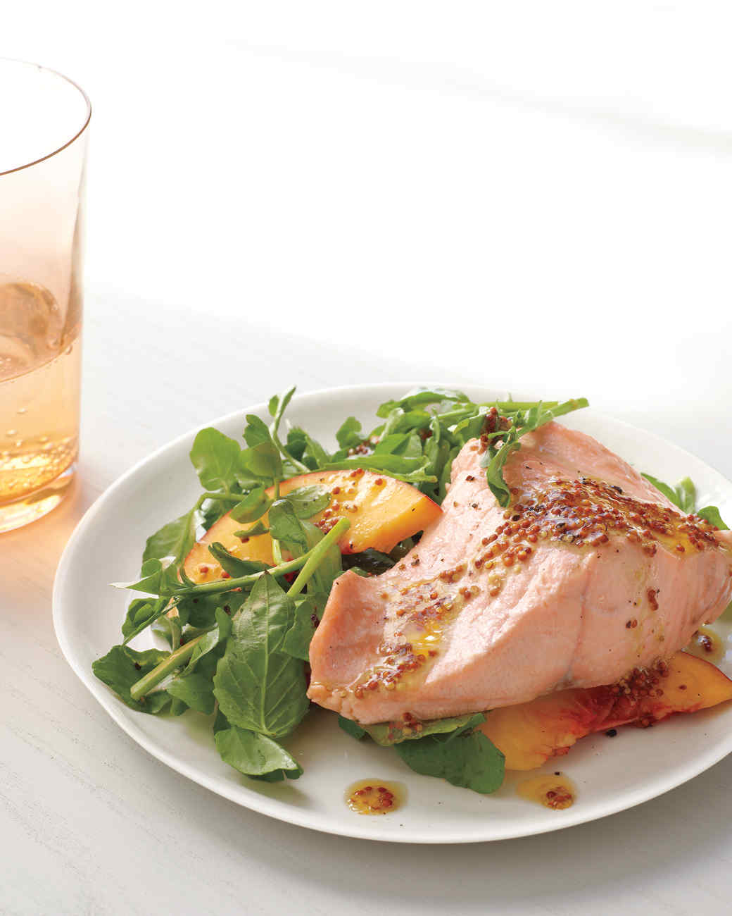 Poached Salmon with Watercress and Peaches