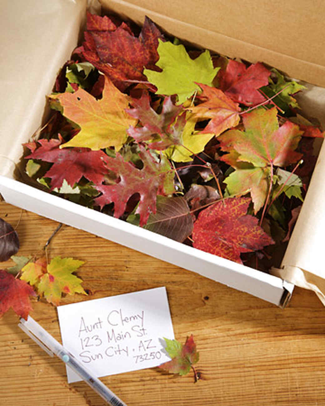 Glittered Leaves in a Box