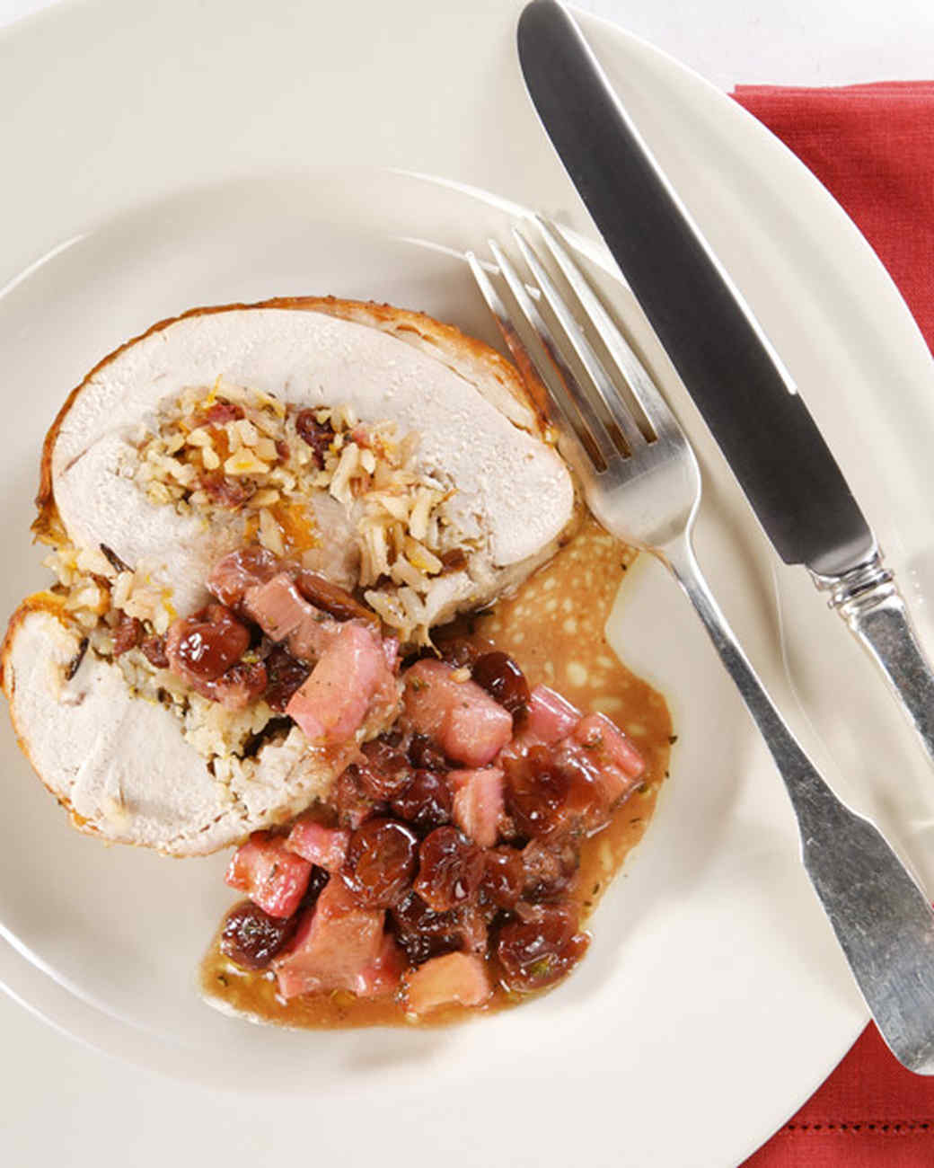 Turkey Roulade with Wild Rice and Rhubarb-Cherry Stuffing