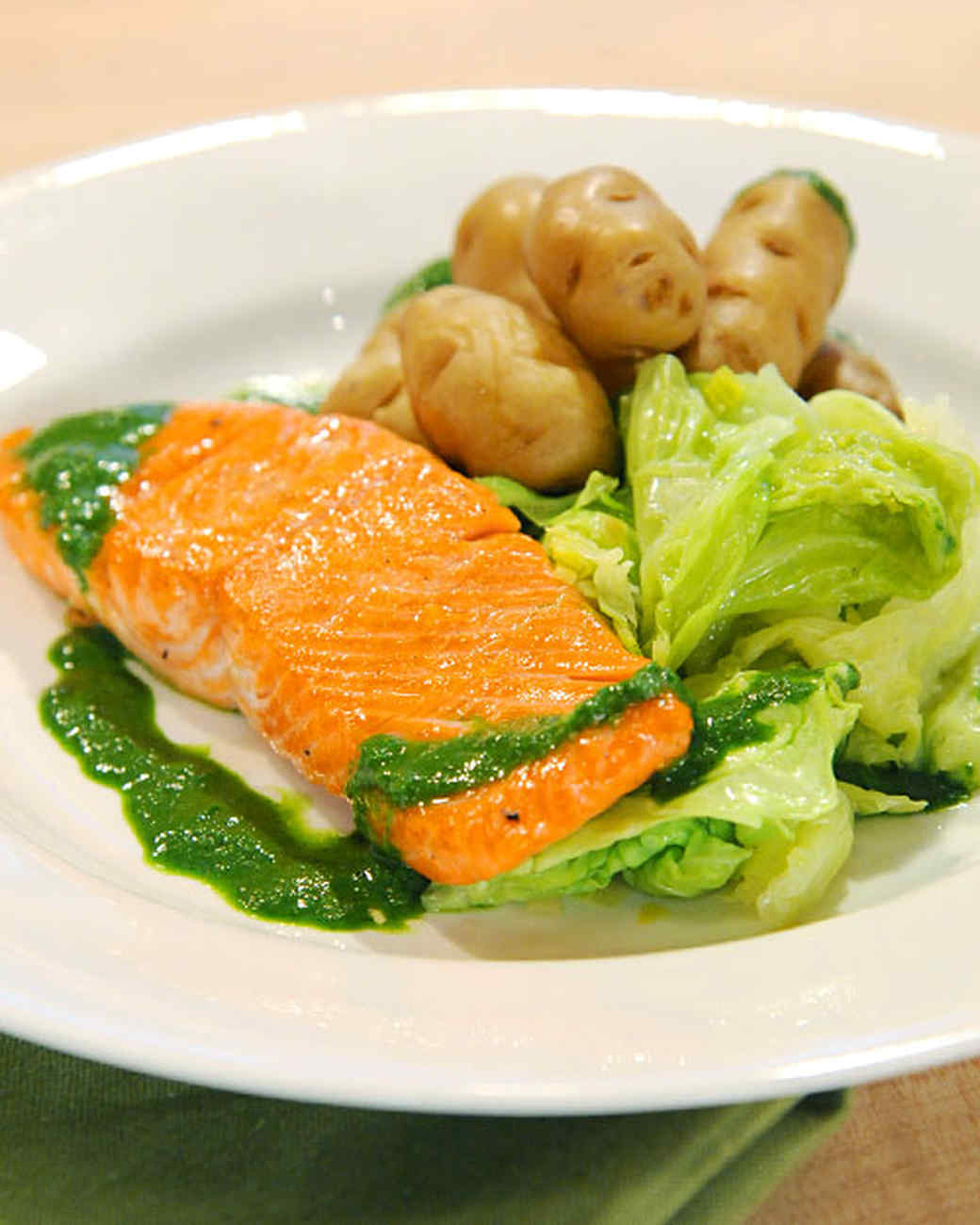 Corned Salmon with Wilted Savoy Cabbage and Braised Fingerling Potatoes