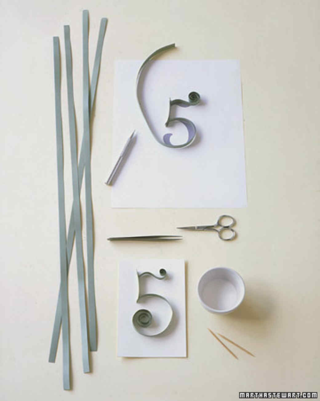 Quilled Table Numbers | Martha Stewart