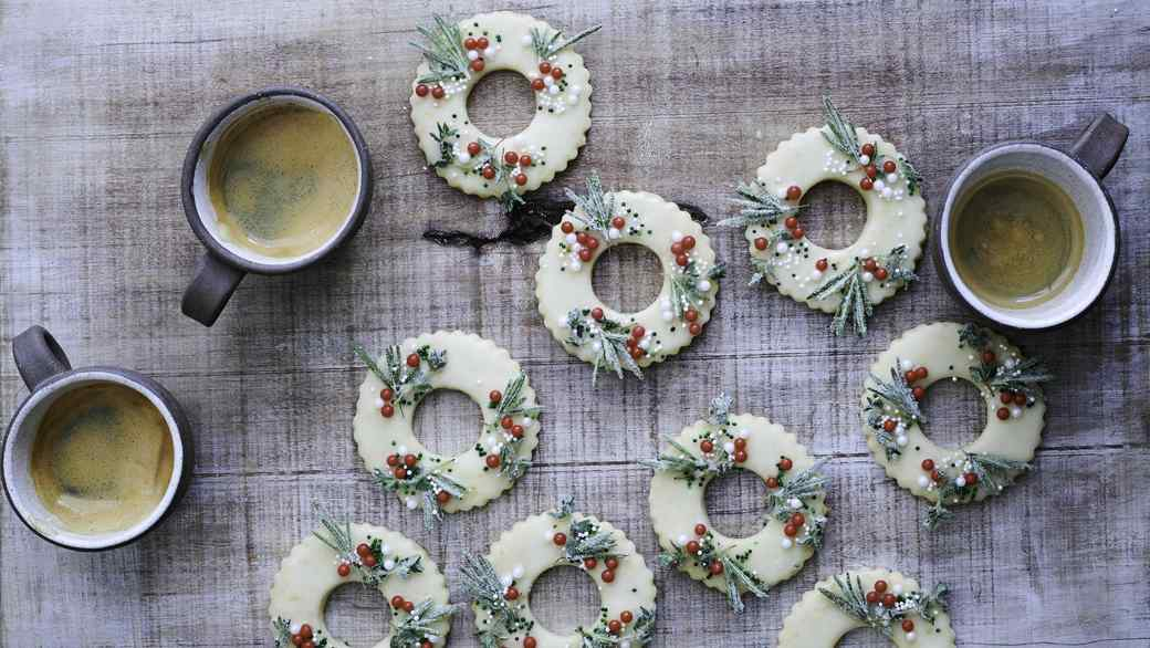 Meyer Lemon Shortbread Wreath Cookies