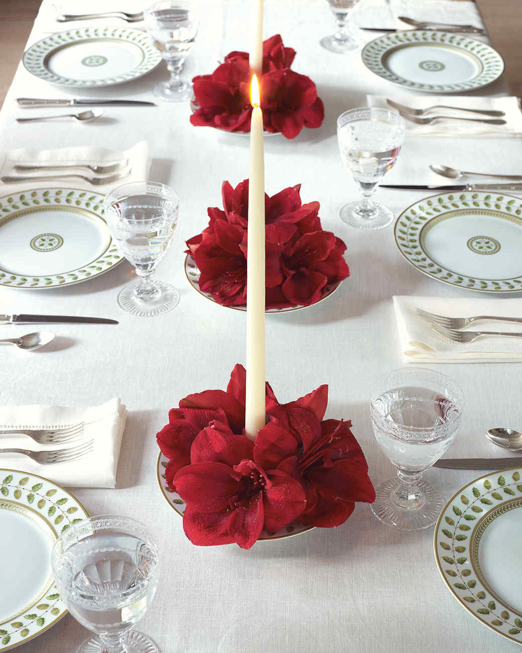 Amaryllis Candle Centerpiece