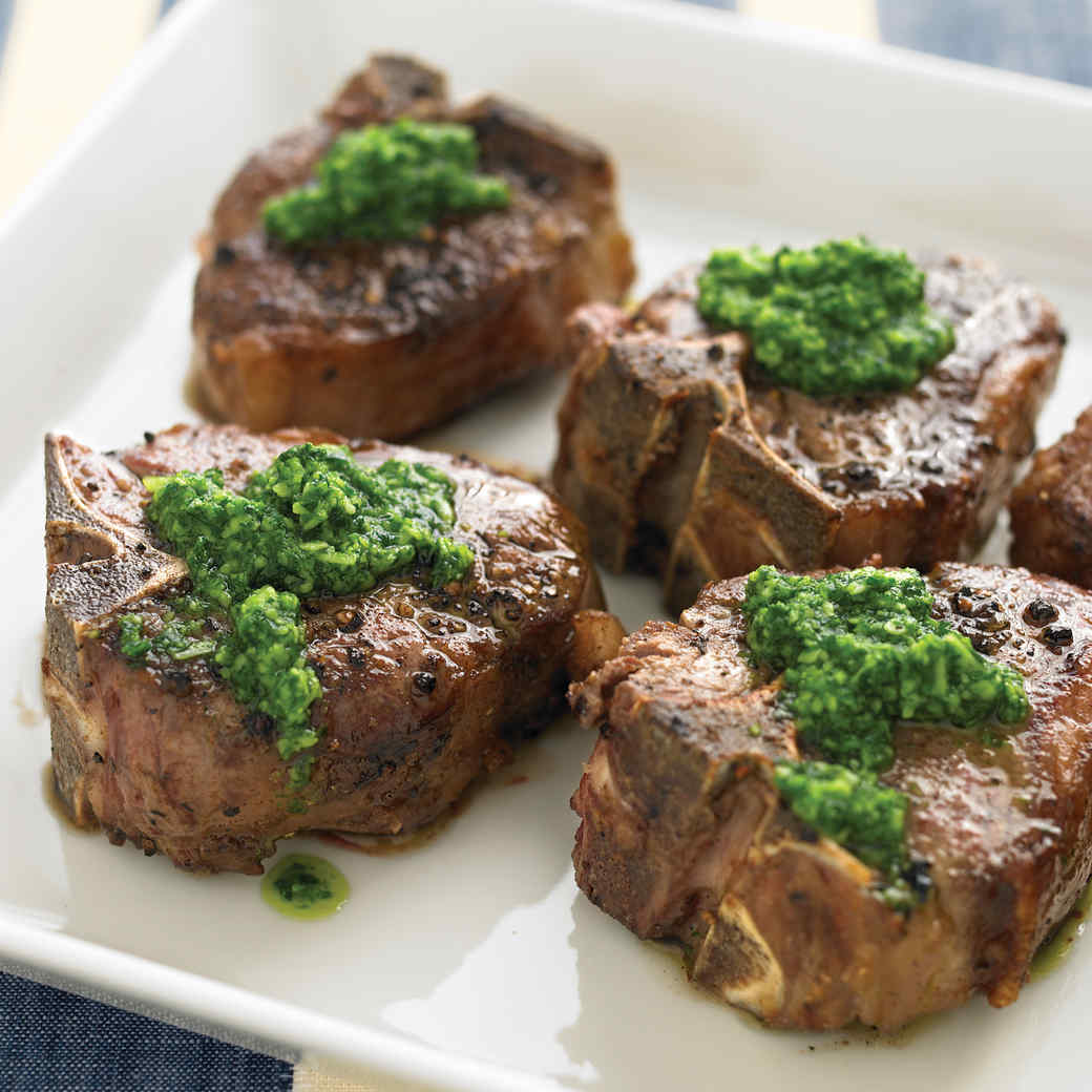 Lamb Chops with Pecorino Parsley Pesto