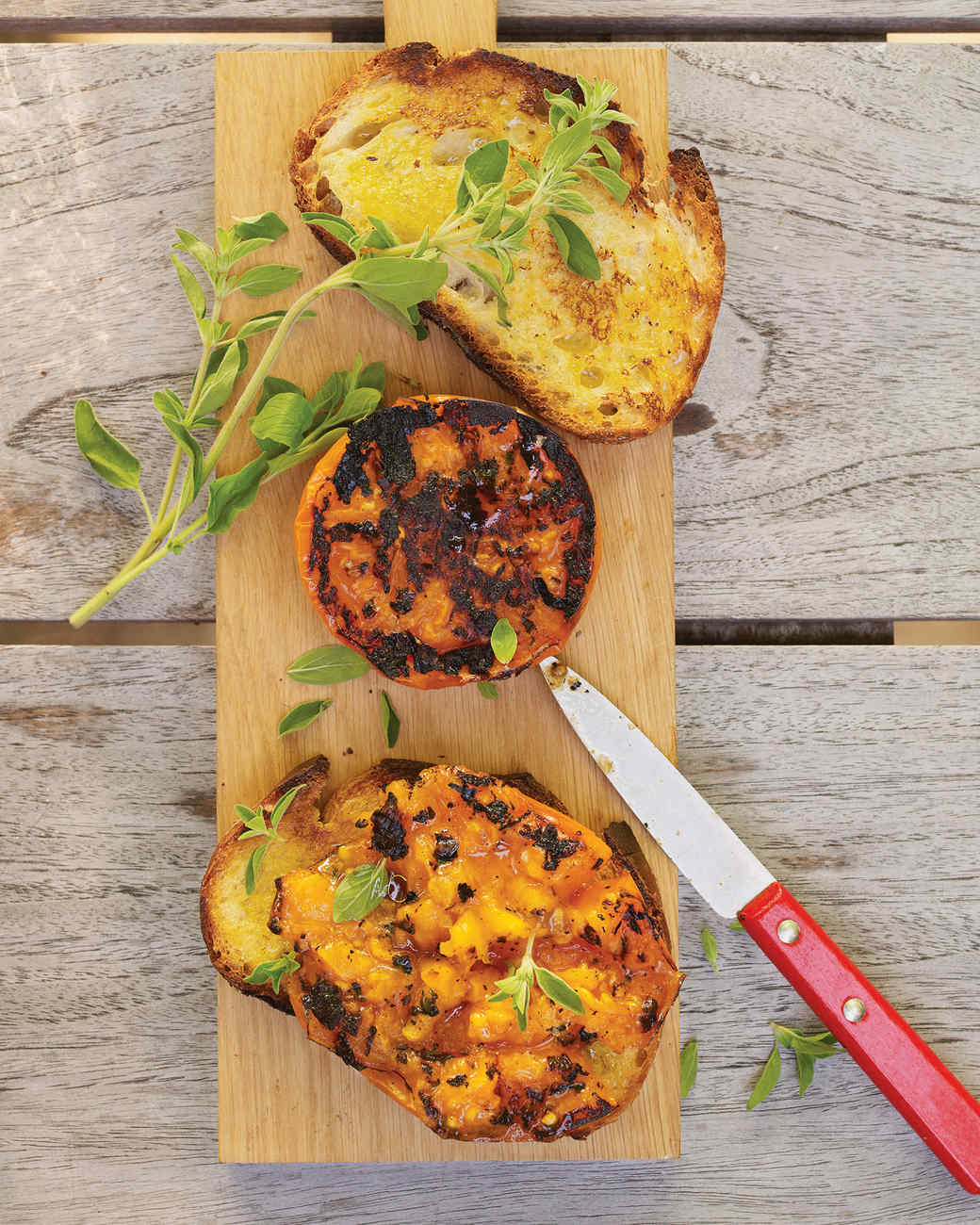 Charred Tomatoes on Rustic Bread