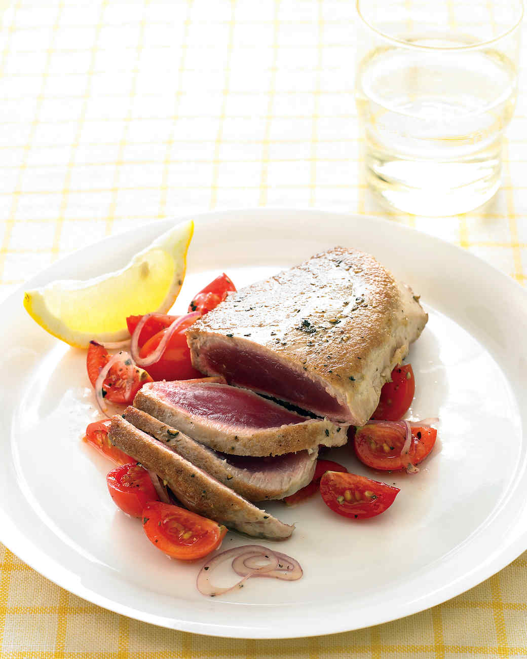 Tuna Steaks with Lemony Tomatoes and Onion
