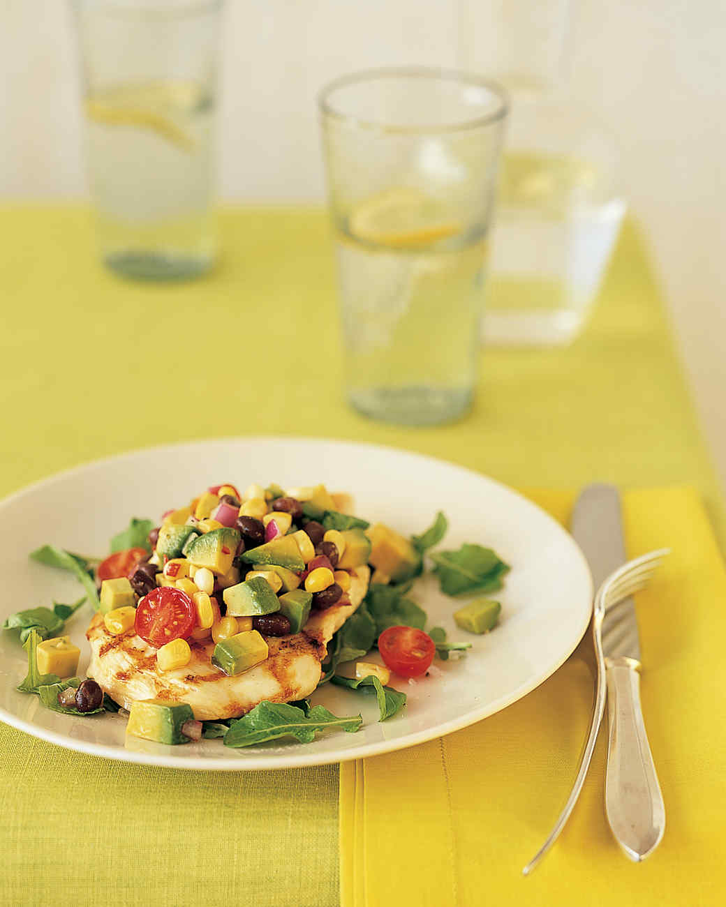 Lemon Chicken with Avocado-Corn Salsa