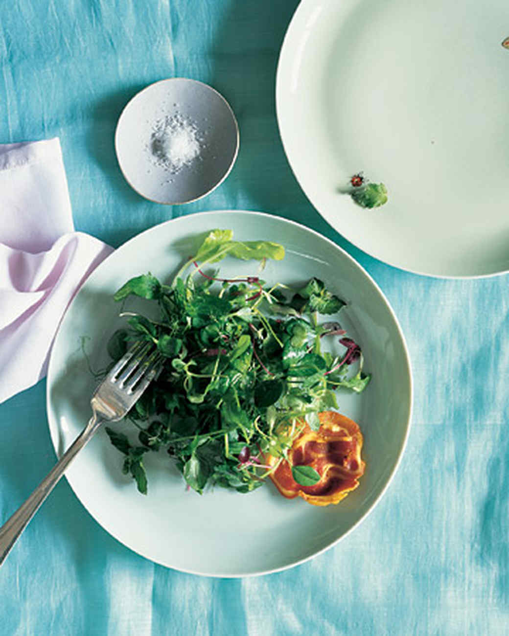 Pea Shoots, Crisped Pancetta, and Mint Vinaigrette