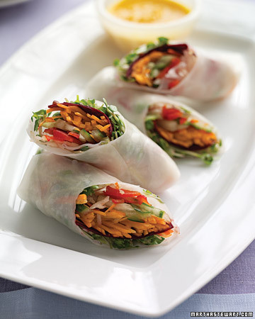 Spring Rolls with Carrot-Ginger Dipping Sauce Recipe | Martha Stewart