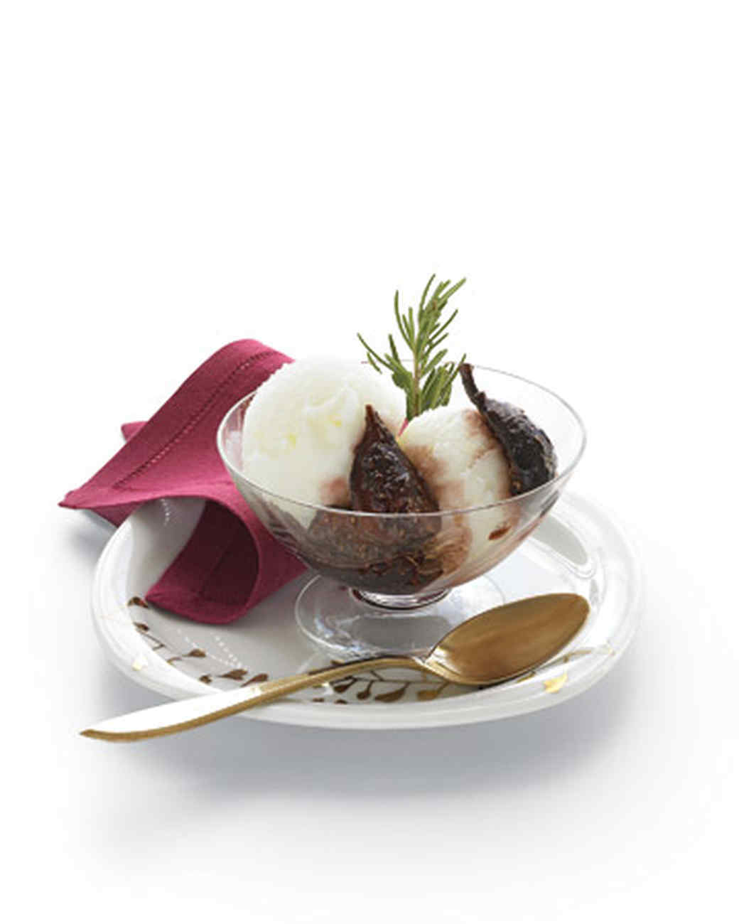 Red Wine and Rosemary Figs with Fromage Blanc Sorbet
