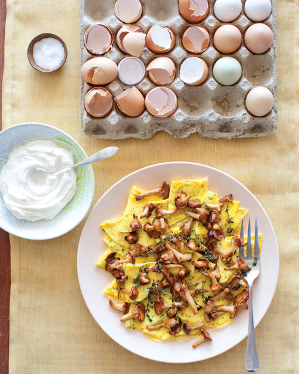 Chive Omelets with Chanterelles