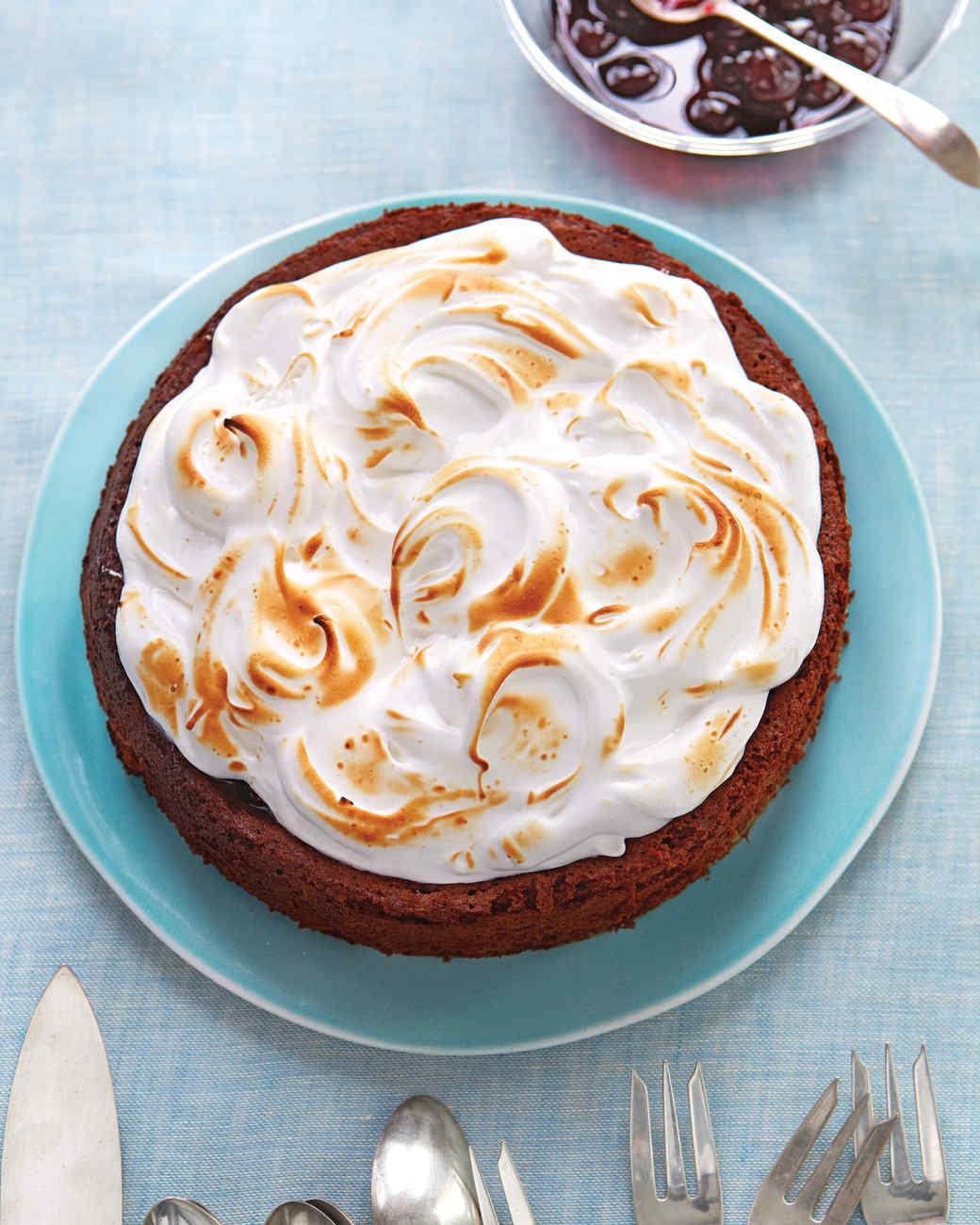 Flourless Chocolate-Almond Torte with Cherry Preserves and Kirsch Meringue