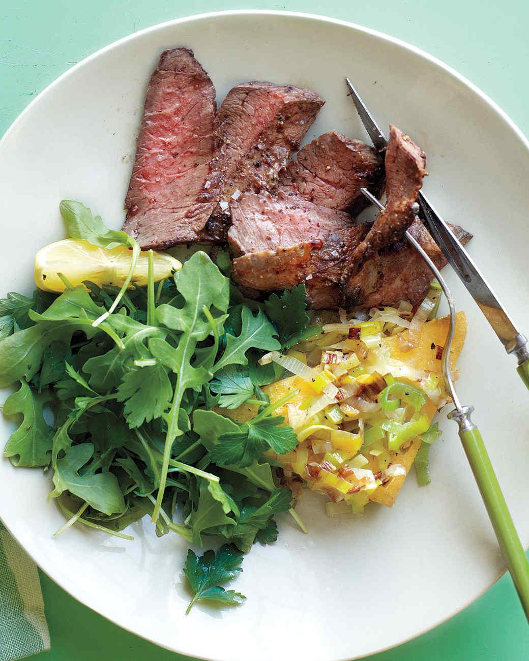 Skirt Steak with Pan-Fried Polenta