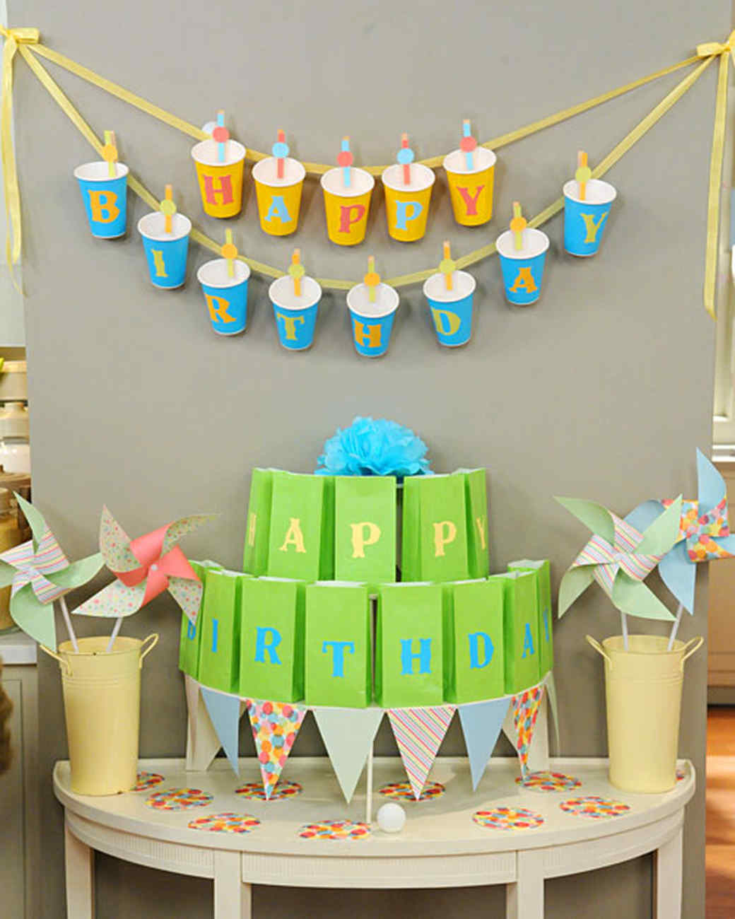 Party cup garland and game video martha stewart for 1 year birthday decoration