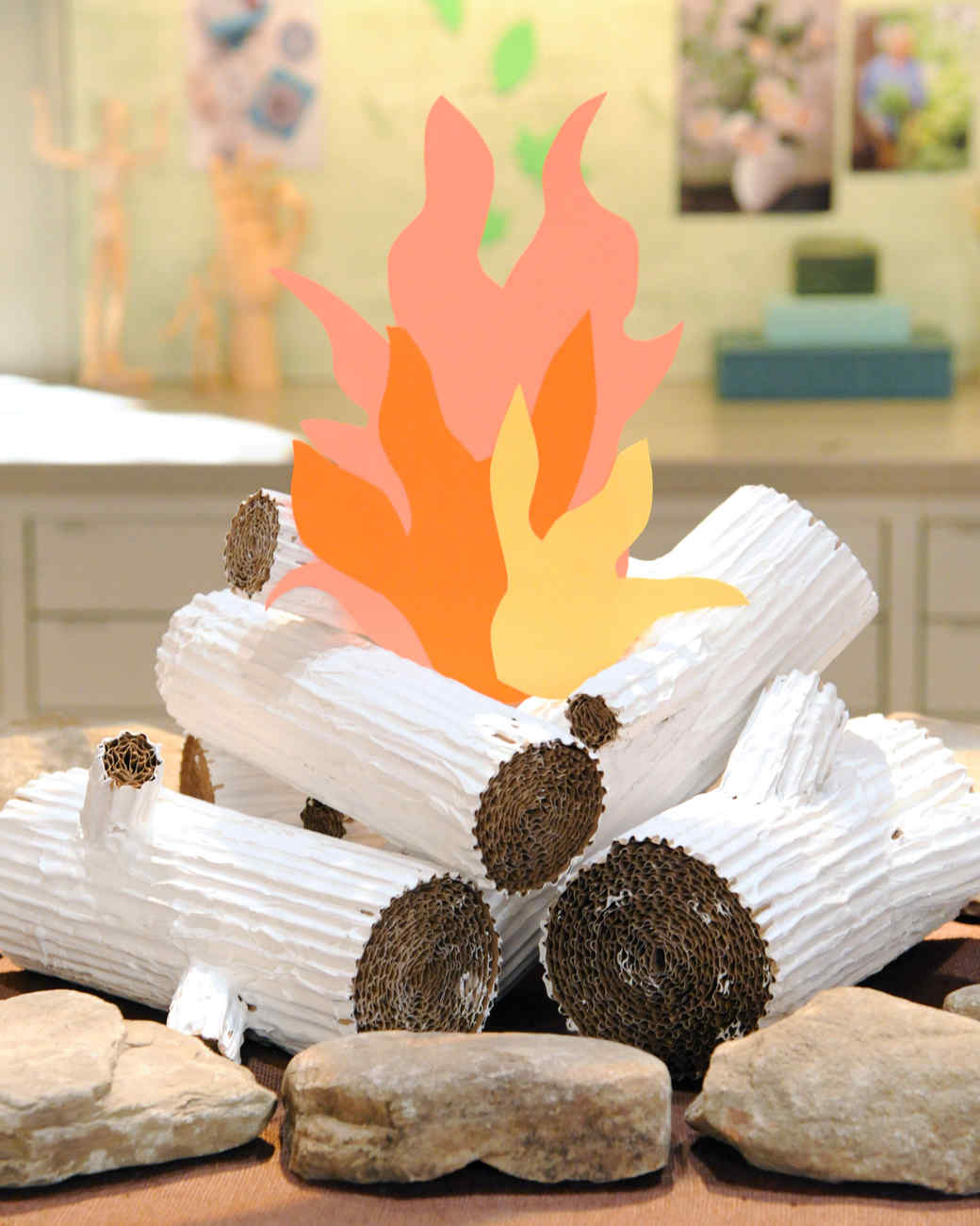 How to make fireplace logs out of cardboard fireplaces for Artificial logs for decoration