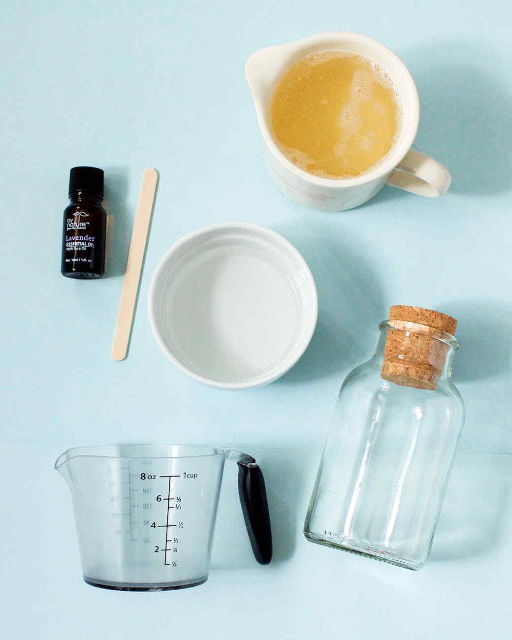 homemade bubble bath materials jar oil measuring cup