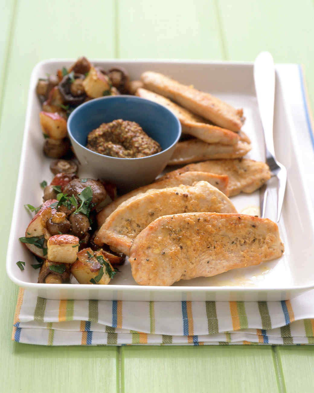 Turkey Cutlets with Potatoes and Mushrooms