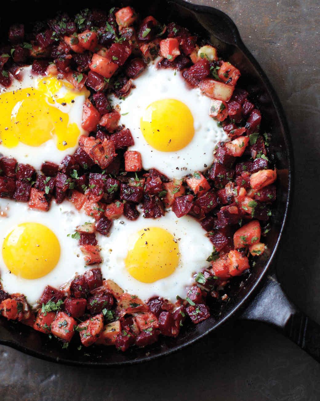 beet hash eggs