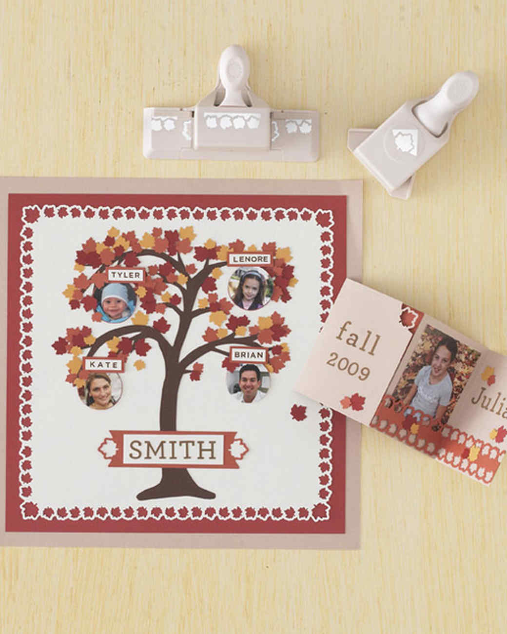 family tree scrapbook page and leaves accordion fold card