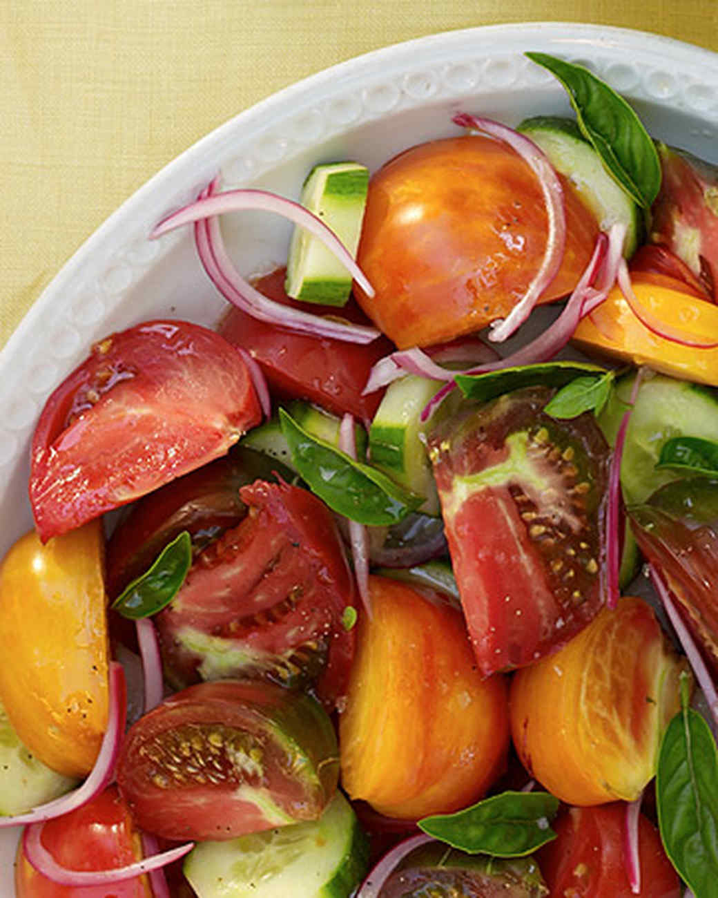 Tomato, Cucumber, and Pickled-Onion Salad